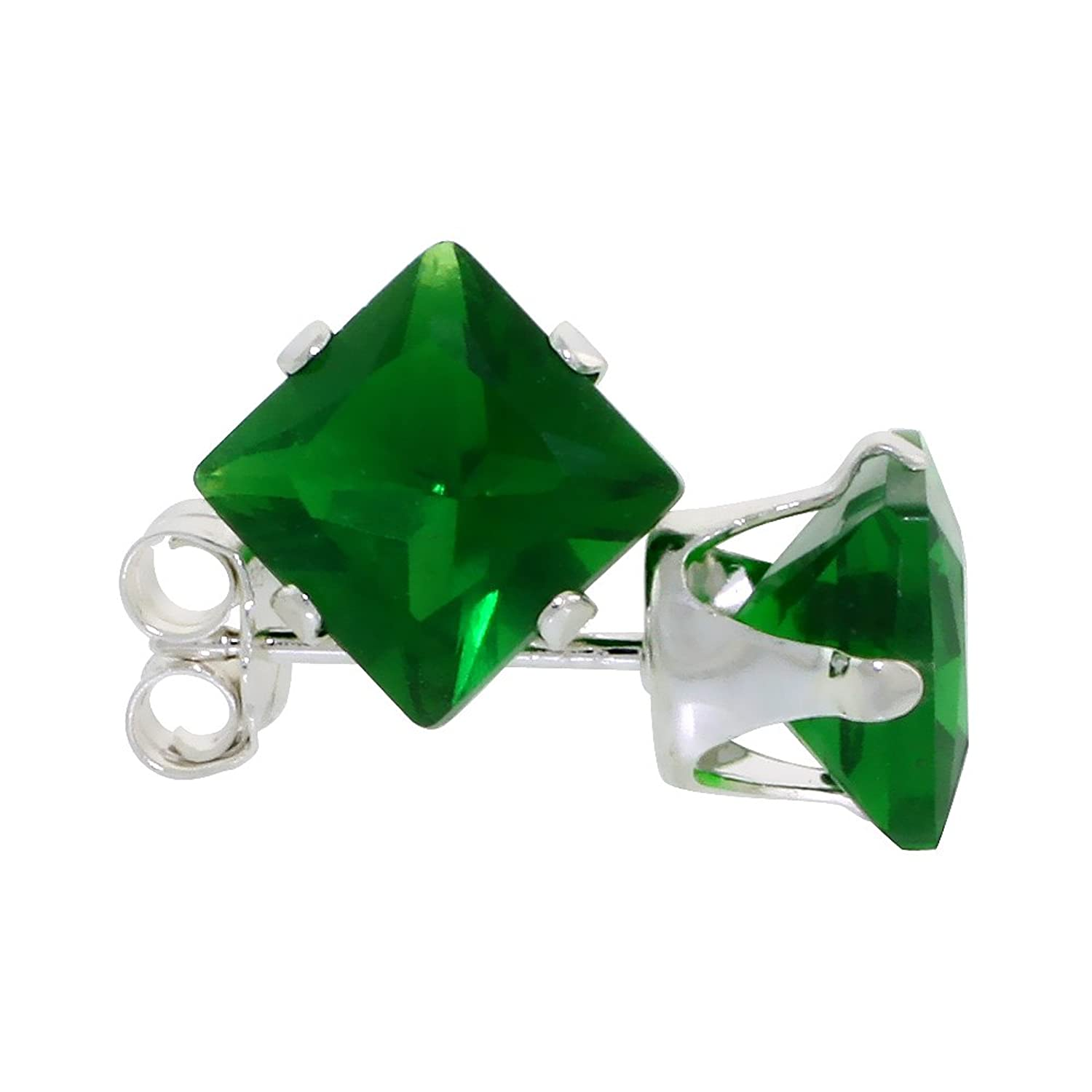 green setting products prong rose earringsfine emerald cut stud gdd eagle earrings princess gold