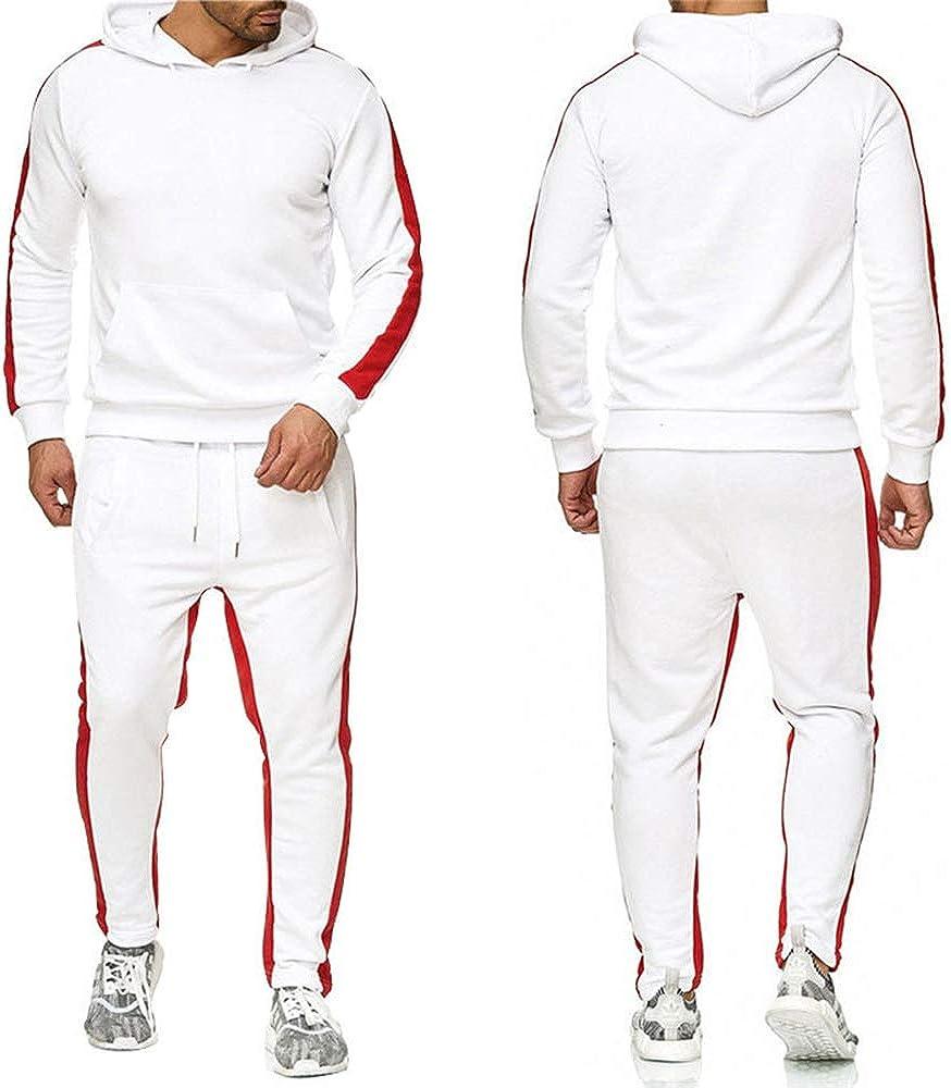 CAOCK Herren Kapuzenpullover mit europäischer und amerikanischer Strickjacke Einfarbig Bruce Lee Kung Fu Wear Anzug Herren Freizeitsport Zweiteiler Weißes Set