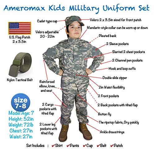 Kids Military Realistic Uniform Army Costume Camo Tactical Suit - Cap, Jacket, Pants, Belt, Patch Se - http://coolthings.us