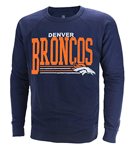 "Denver Broncos NFL Men's ""Fundamentals"" French Terry Crew Sweater, Navy"