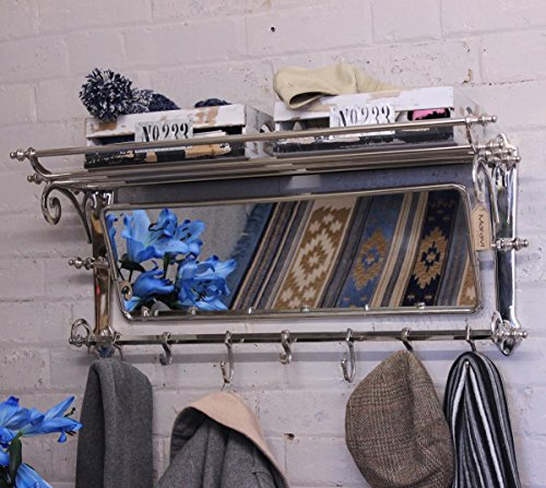 Maravi Lohit Coat Train Rack With Mirror Wall Mounted Vintage With 7 Hooks by Maravi