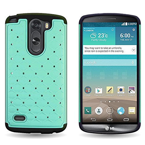 LG G3 Stylus Case (Teal / Black) by CoverON®, [Aurora] Luxury Fashion Series with Diamond Bling Style and Phone Cover Armor Drop Protection - NOTE: Will NOT Fit LG G3 or G Stylo