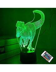 Dinosaurus 3D lamp, CooPark Illusion Hologram nachtlampje met 16 kleuren veranderen Afstandsbediening Dimmerfunctie, Jurassic World thema Slaapkamerdecoratie Cadeaus voor jongens meisjes