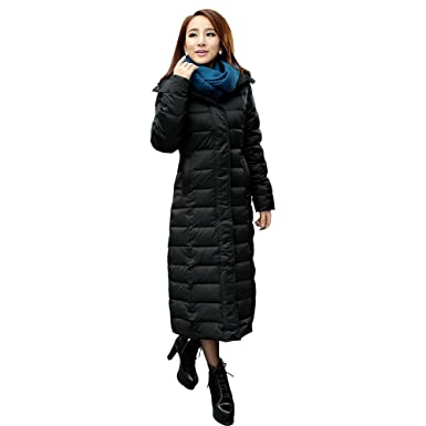 Aileen88 Women&39s Slim Full Length Long Hooded Warm Down Coat