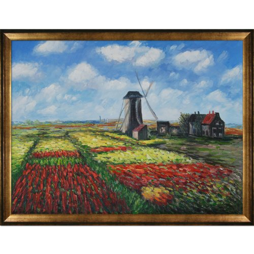 (overstockArt Tulip Field Oil Painting with The Rijnsburg Windmill with Athenian Gold Frame by Monet, Antique Finish)