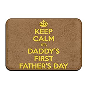 Interior y exterior absorbe el barro felpudo Keep Calm It's My Daddy's First Father's Day diseño patrón para baño