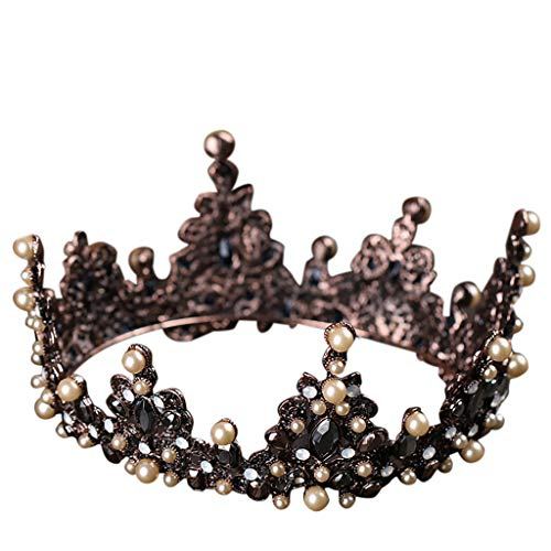 Circle Ring Pave Luxurious - Topgee Luxurious and Elegant Crown Full of Crescent Shaped Headwear Ladies Jewelry Wedding Tiara Pearl Jewelry Shiny Bridal Crown Tiara Hair Jewelry for Special Occasion Banquet Festival Party