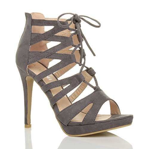 Ladies Suede Ajvani Grey High Ghillie Lace Heel up Size Sandals Women B1qSH5
