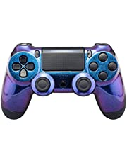 eXtremeRate Chameleon Purple Blue Glossy Front Housing Shell for PS4 Slim Pro Controller, Custom Accessories Faceplate for Playstation 4 Controller CUH-ZCT2 JDM-040/050/055 - Controller NOT Included