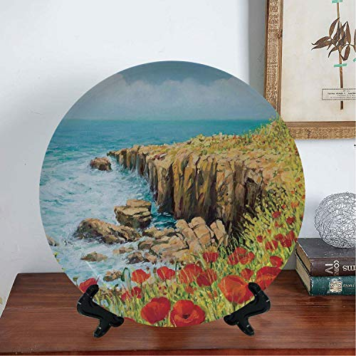 BeeMeng #07653 Decorative Ceramic Plates, Flower,Coastal Seascape and Poppies On The Cliffs High Above The Bay Image Print,Red Peach Dark Green, 8 Inch (Ceramic Poppy Stand)