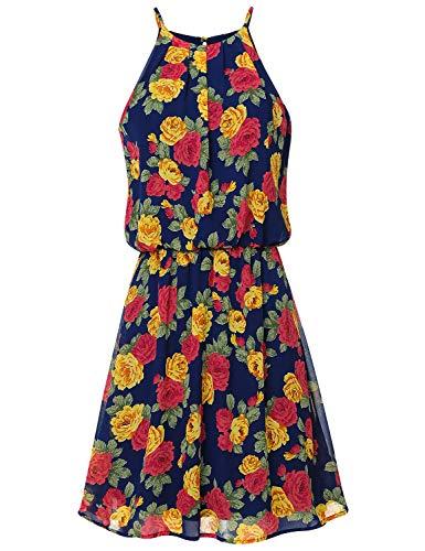 Price comparison product image JSCEND Women's Sleeveless Double Layered Pleated Neck Cami Chiffon Mini Dress (S~3XL) C-NAVYRED M