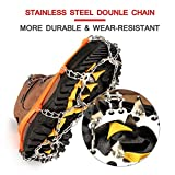 Wirezoll Traction Cleats, Upgraded Version of 19 Teeth Stainless Steel Spikes for Walking, Jogging, or Hiking on Snow and Ice -1 Pair (19 Teeth Orange, Large)