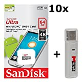 10 PACK - SanDisk Ultra 64GB UHS-I Class 10 MicroSDXC Memory Card Up to 48mb/s SDSQUNB-064G LOT OF 10 with USB 2.0 MemoryMarket dual slot MicroSD & SD Memory Card Reader