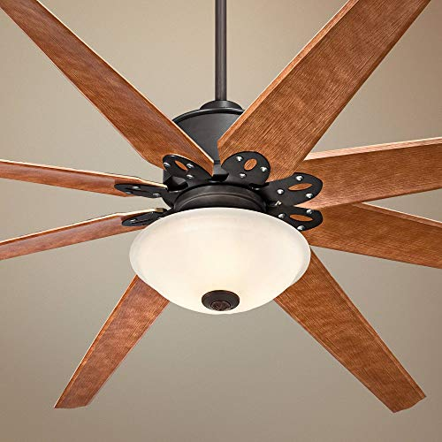 """72"""" Predator Ceiling Fan with Light LED Dimmable Remote Control English Bronze Cherry Blades White Fluted Bowl for Living Room Kitchen Bedroom Family Dining - Casa Vieja Lamps Plus"""
