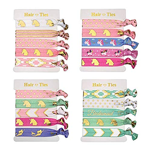 KisSealed 20 PCS Unicorn Hair Ties Party Favors Birthday Gifts Supplies - Girls Elastic Ponytail Holders Decorations Unicorn Hair Ties-20
