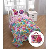 Shopkins Twin Bed Set with Comforter, Sheets, Pillowcase,Tote & Mini Donut Pillow Buddy, Kid's Bedding,