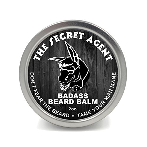 Badass Beard Care Beard Balm - Secret Agent Scent, 2 oz - All Natural Ingredients, Keeps Beard and Mustache Full, Soft and Healthy, Reduce Itchy and Flaky Skin, Promote Healthy Growth