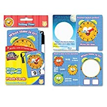 Wright On/Wipe Off Flash Cards, Tell Time, Grade K+, 9/PK,, Sold as 1 Package by The Board Dudes