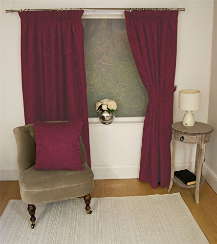 "JACQUARD FLORAL DAMASK WINE RED 66X90"" 168X229CM LINED PENCIL PLEAT CURTAINS DRAPES"