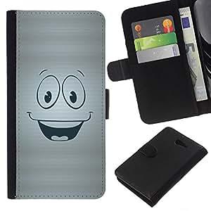KingStore / Leather Etui en cuir / Sony Xperia M2 / Cara feliz sonriente símbolo de dibujos animados