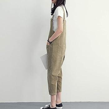 STRIR Mujer Peto de Trabajo Largo Pantalones Elegante Mono ...