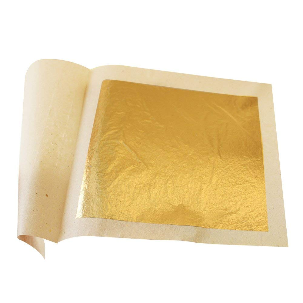 Edible 24K Gold Leaf Sheets 100 pcs 4.33 x 4.33 cm Pure Genuine Facial Edible Gold Leaf for Cooking, Cakes & Chocolates, Decoration, Health & Spa (100 Sheets) by KINNO (Image #2)
