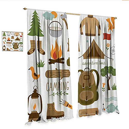 Adventure Patterned Drape for Glass Door Camping Equipment Sleeping Bag Boots Campfire Shovel Hatchet Log Artwork Print Window Curtain Fabric W120 x L84 Multicolor.jpg
