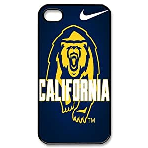 JIUBIE Hard Plastic Cover 12 NCAA PAC-12 California Golden Bears Print Black Case With Hard Shell Cover for Apple iPhone 4/4S