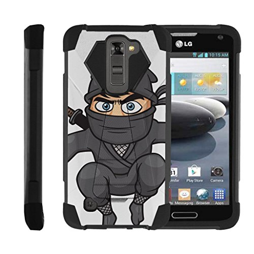 Flying Ninja Kick - MINITURTLE Case Compatible w/LG Escape 3   K8   Phoenix 2 Case, Durable AllAround Armor Stand Phone Case w/Animal Designs, Flying Ninja