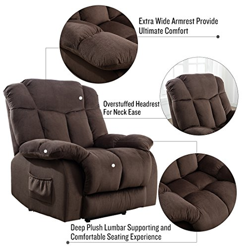 CANMOV Power Lift Recliner Chair - Heavy Duty and Safety Motion Reclining Mechanism-Antiskid Fabric Sofa Living Room Chair with Overstuffed Design, Chocolate