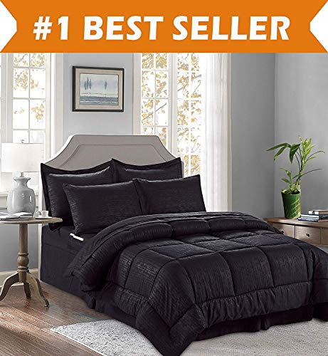 Elegant Comfort Luxury Bed-in-a-Bag Comforter Set on Amazon Wrinkle Resistant - Silky Soft Bamboo Pattern Complete Bed-in-a-Bag 8-Piece Comforter Set -Hypoallergenic- King Black