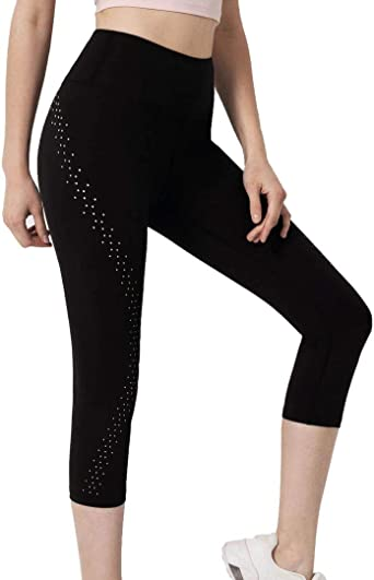 NEW Womens Capri Pants Size Medium Black Fold Over Waist Love Casual Stretch Gym