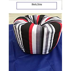 Bean Bag Chair Extreme Sturdiness Premium Quality Colorful Striped Canvas Fabric, Large Storage Capacity For Soft Toys, Towels, Blankets, Extra Sheets,good choice for gift (black/grey)canvas tote bag