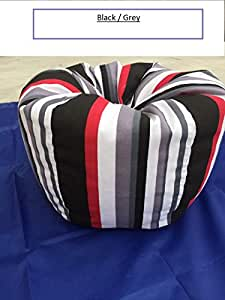 """Bean Bag Chair Extreme Sturdiness Premium Quality Colorful Striped Canvas Fabric, Large Storage Capacity For Soft Toys, Towels, Blankets, Extra Sheets 25.5"""" H x 21.6"""" W (black/grey)canvas tote bag"""