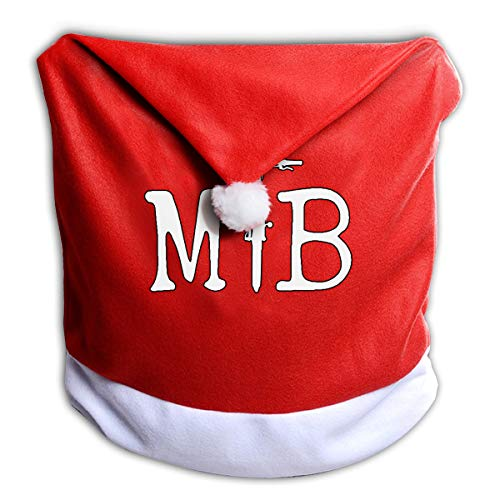 (MOJP9 Santa Hat Chair Covers, Happy Mountain Biking Santa Clause Red Hat Chair Back Covers for Christmas Dinner Decor)