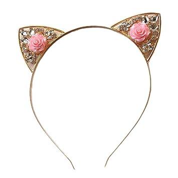 Frcolor Flor Gato orejas diademas mujeres niña pelo banda Rhinestone pelo aros Halloween fiesta diadema (rosa): Amazon.es: Belleza
