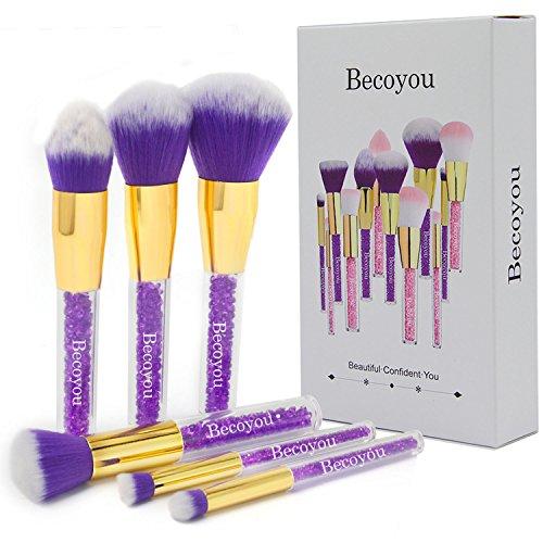 Makeup Brush Set, Becoyou 6 Pieces Professional Makeup Brushes Rhinestone Acrylic Smooth Handle with Storage Bag, Face Eye Shadow Foundation Blush Powder Liquid Cream Blending Brush, Purple