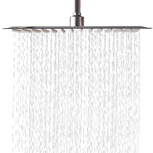 (LORDEAR F01082CH Solid Square Ultra Thin 304 Stainless Steel 12 Inch Adjustable Rain Shower Head with Polish Chrome,Waterfall Full Body Coverage with Silicone Nozzle Easy to Clean and Install)