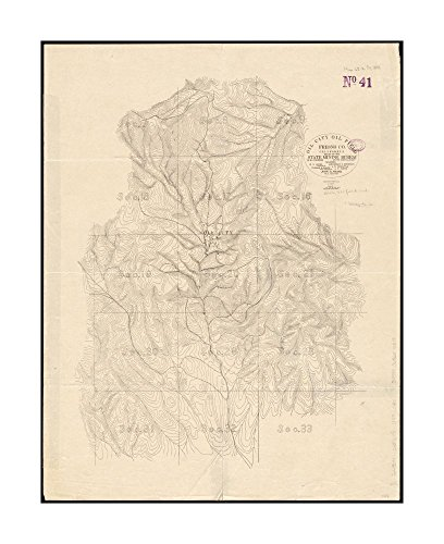 1899 Map Coalinga Oil Field Oil City oil field, Fresno Co., California Relief shown by contours.Shows oil wells, topography, roads & public land survey sections.|Ready to Frame|Historic - Fresno Outlets