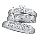 Sterling Silver His & Hers Matching Wedding Bands Set & Engagement Ring His & Hers Rings Set 1/12 ctw Size 8