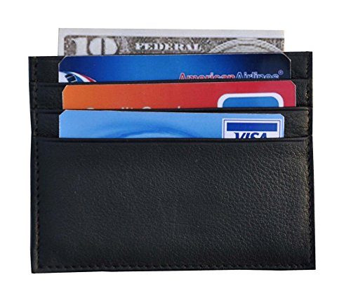 Bdgiant Leather Slim Front Pocket Wallet for Men -Credit Card Holder 6 Card Case-black