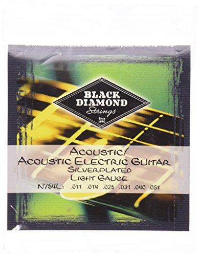 Black Diamond N754L Silverwound Acoustic Guitar Strings, Light