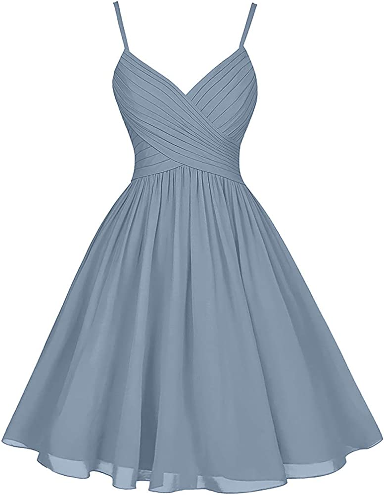 edc852dad1ca Dusty Blue Bridesmaid Dresses Short Knee Length A-Line V-Neck Chiffon Party  Dress. Back. Double-tap to zoom