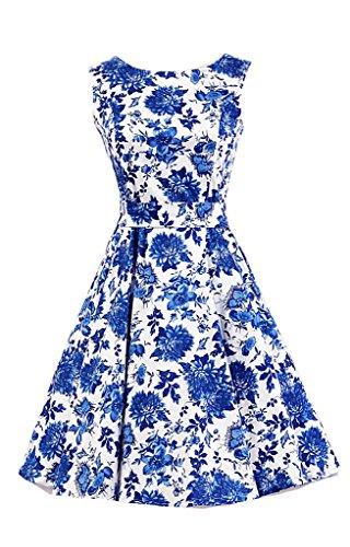 Eudolah Vestido retro de Audrey Hepburn Blanco Azul Flor-Y