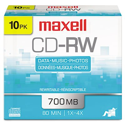 CD-RW Discs, 700MB/80min, 4x, Silver, 10/Pack by MAXELL CORP. OF AMERICA
