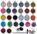 26 Itay Mineral Cosmetics Glitters +Itay Liquid Sparkel Bond (Glitter Glue) +Itay Gel Eye Liner -Green +Eye Liner Brush