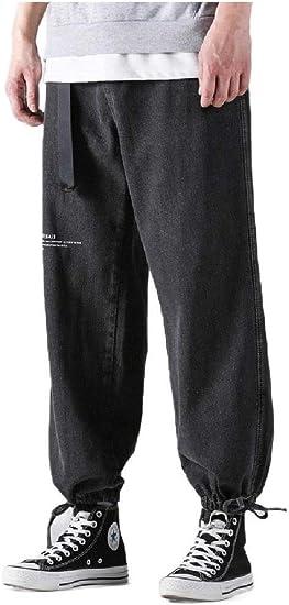AngelSpace Men's Loose Fit Plus Size Denim Solid Color Printing Harem Leg Pants
