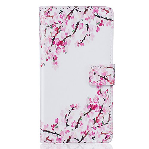 ISAKEN iPhone 6S Plus Case,iPhone 6 Plus Case, [Shock-Absorption][PU Leather] Wallet Case 3D Relief Cool Pattern TPU Inner Bumper Credit Card Holders Kickstand Magnetic Closure - Pink Flower
