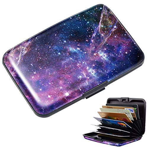 - Mini Credit Card Holder for Women,RFID Blocking Slim Hard Card Case ID Case Travel Wallet Nebula