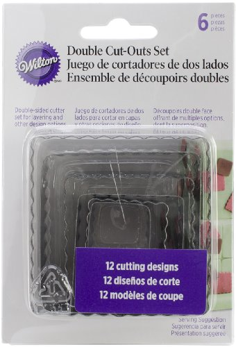 (Wilton 417-2582 6-Piece Nesting Fondant Double Sided Cut Out Cutters, Square)